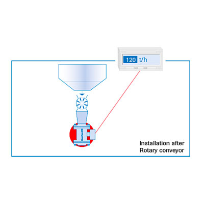 Mass flow measurement for dry bulk solids